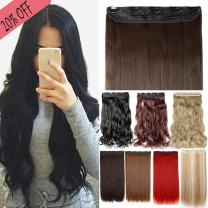 S-noilite One Piece Clip in Hair Extensions Curly Long Thick Natural with 5 Clips Replaceable Hairpiece for Women Add Hair Length and Thickness - 24 inch Natural Black