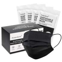 40pcs Boxed Disposable Face Masks,Mouth Guards with Elastic Earloops - Black