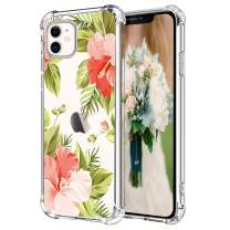 Hepix Floral Clear iPhone 11 Case Flowers Tropical Leaves 11 iPhone Cases, Slim Crystal Flexible Soft TPU with Protective Bumpers Anti-Scratch Shock Absorption for iPhone 11 (2019) 6.1""