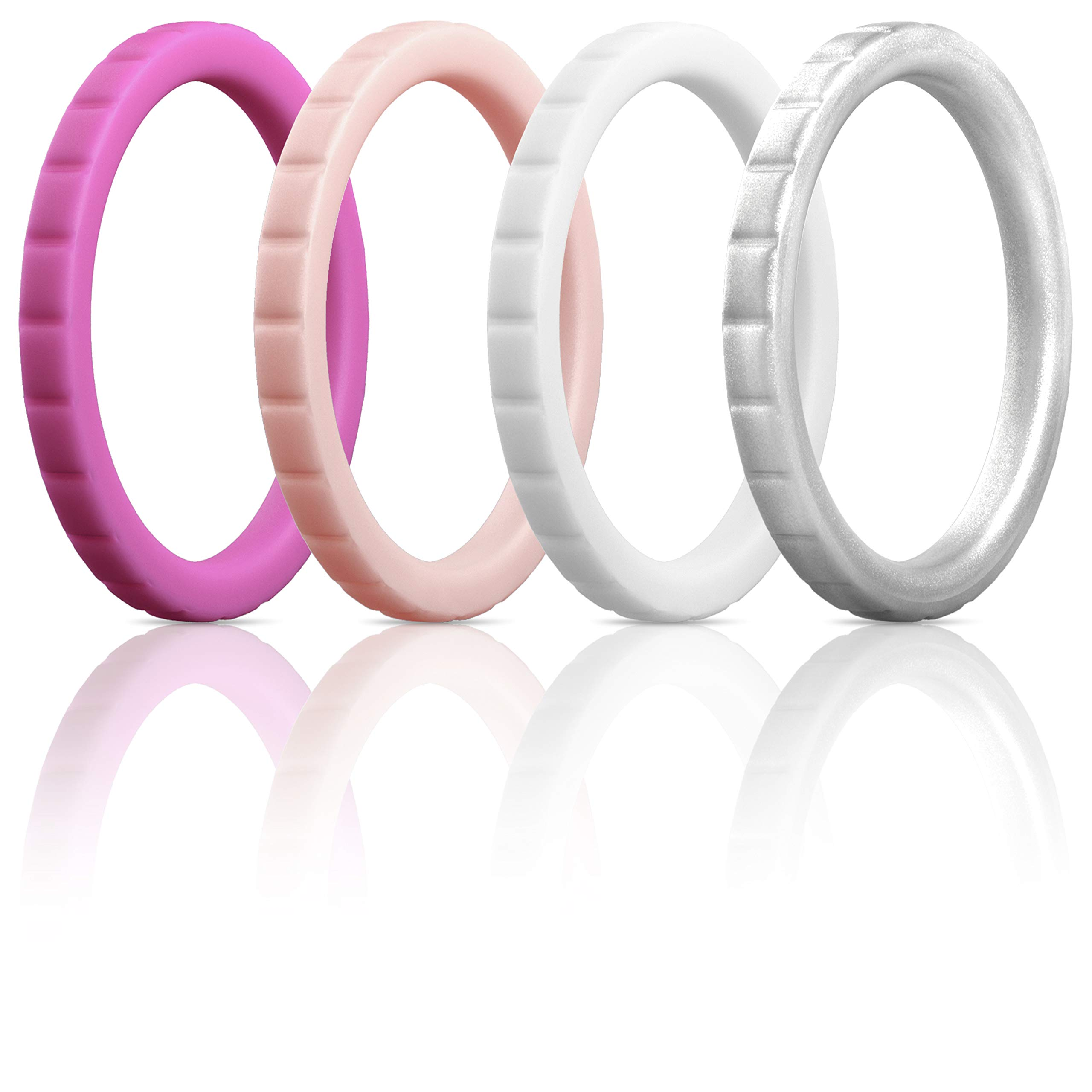 ThunderFit Womens Thin Square Diamond Rings, 8 Rings / 4 Rings / 1 Ring | Stackable Silicone Wedding Rings 2.8mm Wide - 2mm Thick