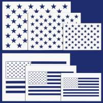 Whaline American Flag 50 Stars 2 in 1 Flag Stencil Template for Painting on Wood, Fabric, Paper, Airbrush, Walls Art Election Day,Veterans Day 6 Pieces