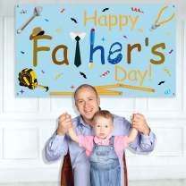 "Happy Fathers Day Banner - Large Size 70"" x 39""- Fathers Day Backdrop Banner - Fathers Day Party Decorations Supplies - Fathers Day Family Photo Booth Backdrop"