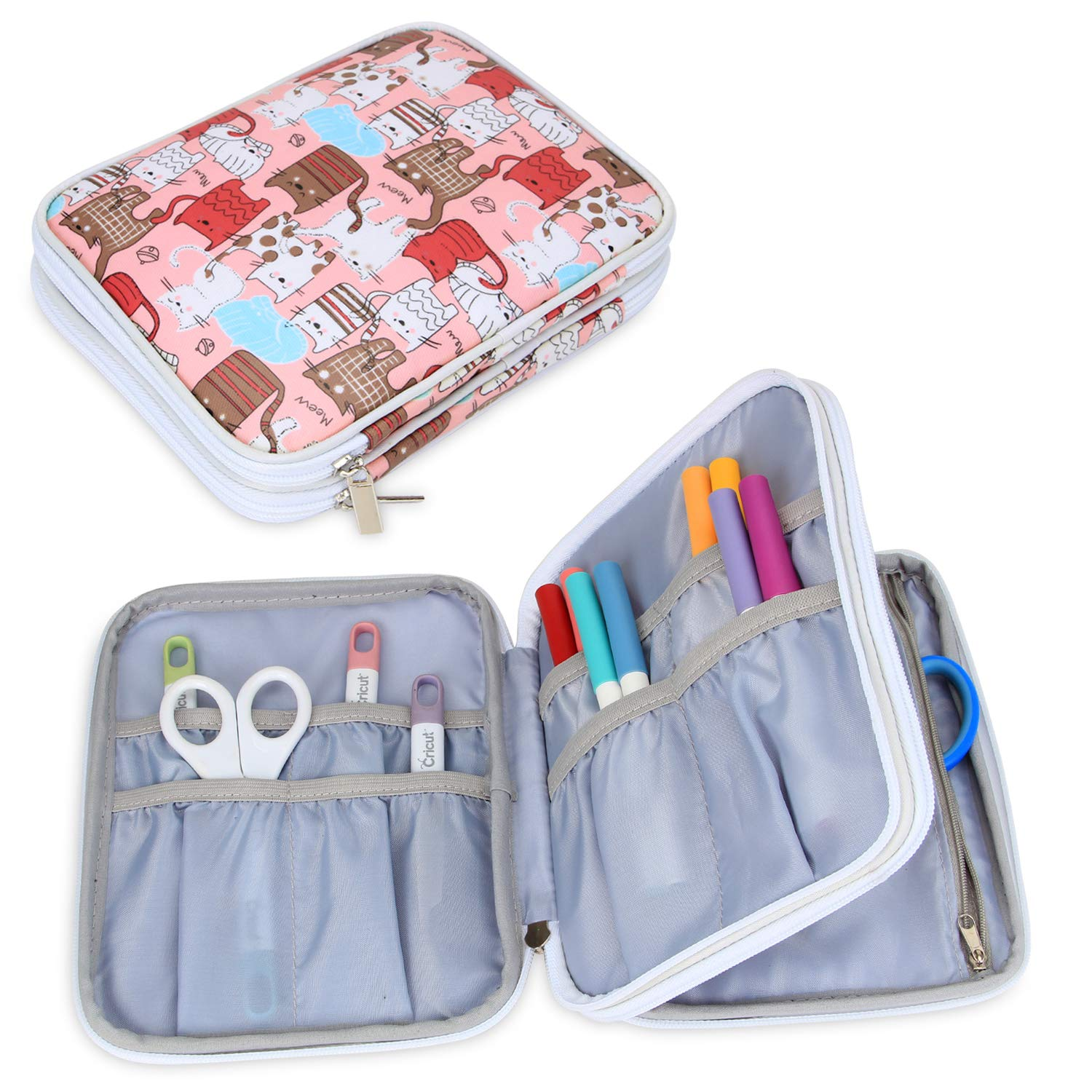 Yarwo Carrying Bag for Cricut Accessories, Organizer Case for Cricut Pen Set and Basic Tool Set Storage, Pink Cats Pattern, Bag Only