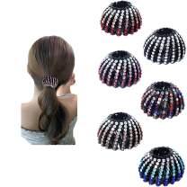Rhinestone Hair Clip for Women - 6Pack Half-balloon Nest Expanding Hairpin Girls Hair Claws Hair Bun Holders Accessories (6 color)