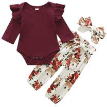 WESIDOM 3PCS Newborn Baby Girl Outfits,Infant Long Sleeve Ruffle Tops Romper Bodysuit and Floral Pants Clothes with Headband