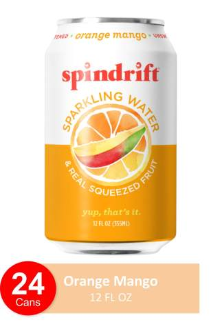 Spindrift Sparkling Water, Orange Mango Flavored, Made with Real Squeezed Fruit, 12 Fl Oz Cans, Pack of 24 (Only 10 calories per Seltzer Water Can)