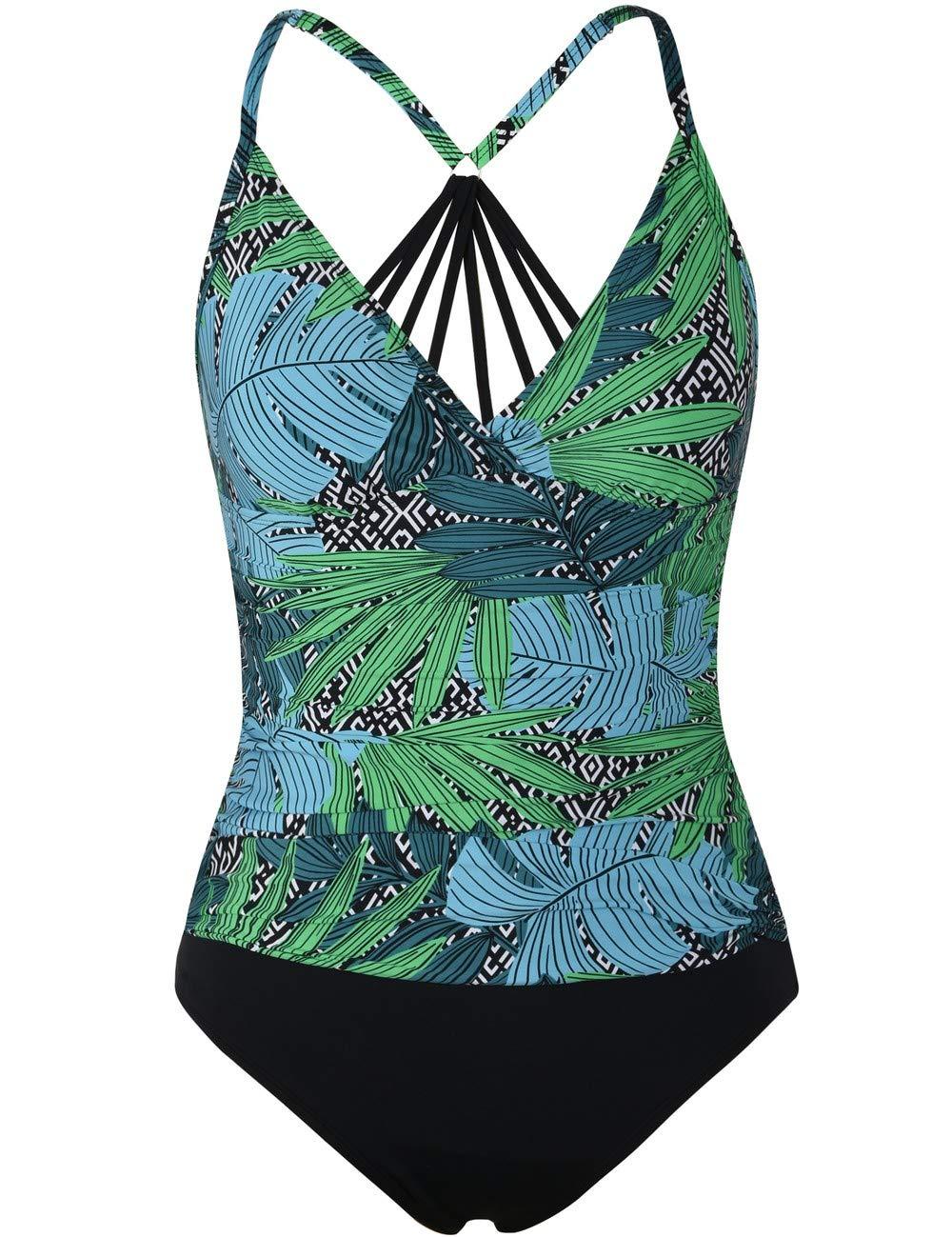 Firpearl Women's One Piece Swimsuit Strappy Racerback Tummy Control Swimwear Bathing Suit