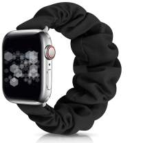 OWUSHEE Scrunchie Watch Band Compatible with Apple Watch Band 38mm 40mm 42mm 44mm Scrunchy Elastic Band for iWatch Series 6 SE 5 4 3 2 1 (Black-38mm/40mm S)