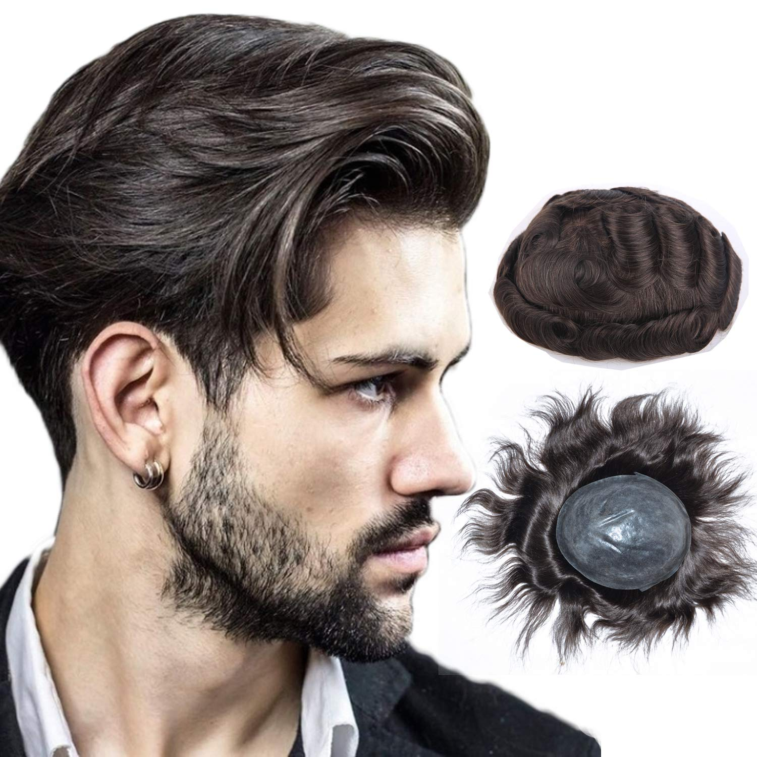 Soft Skin Human Hair Pieces Toupee for Men, LLWear European Virgin Human Hair Mens Replacement System with 8X10 Inch Cap Dark Brown Color(#2)
