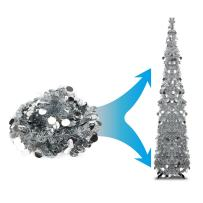 Joy-Leo 5 Foot Silver Sequin Pop Up Tinsel Christmas Tree, Easy to Assemble and Store, for Small Spaces Apartment Fireplace Party Home Office Store Classroom Xmas Decorations