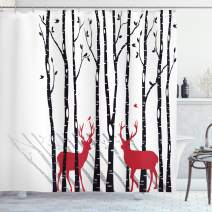 "Ambesonne Antlers Shower Curtain, Deer Tree Forest with Red Holiday Theme Flying Leaves Branch Reindeer, Cloth Fabric Bathroom Decor Set with Hooks, 84"" Long Extra, White Red"