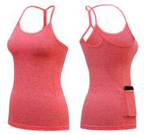 ODODOS Workout Tank Tops for Women, Strappy Athletic Tanks with Side Pocket, Exercise Gym Yoga Shirts