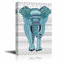 wall26 - Blue Hand-Drawn Zentangle Elephant on a Silver Colored Zentangle Background - Canvas Art Home Decor - 32x48 inches