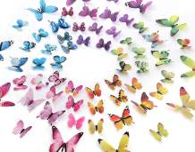 Eoorau 60PCS Butterfly Wall Decor for Wall-3D Butterflies Wall Stickers Removable Mural Decals Home Decoration Kids Room Bedroom Decor (5Colors)