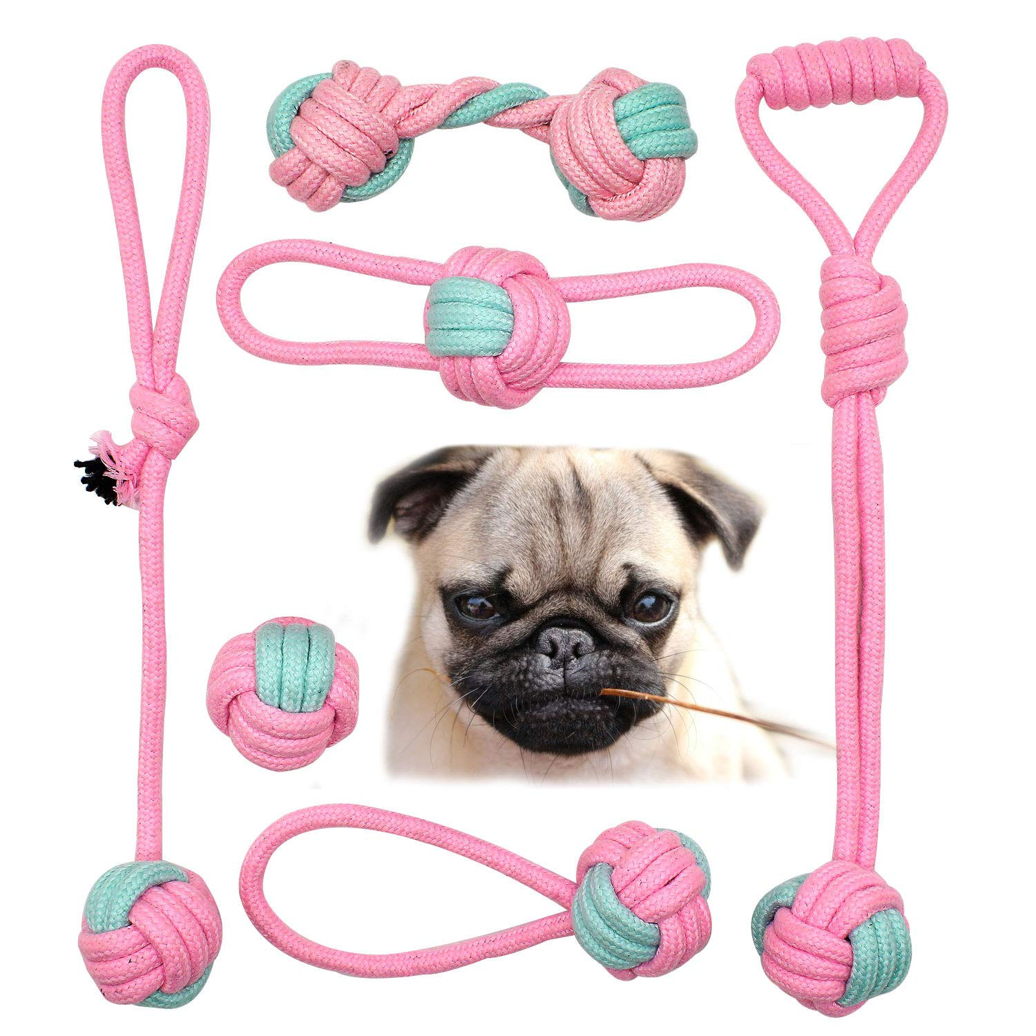 DLDER Dog Rope Toys, Tug of War Interactive Rope - Dog Teeching Toys - Fetch Ball for Chewer