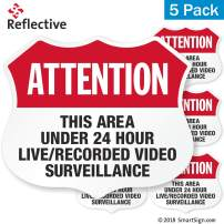 "SmartSign""Attention - Area Under 24 Hour Video Surveillance"" Five Pack of 2.75""x3.25"" EG Reflective Adhesive Labels"