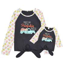 Mommy and Me Shirts Pumpkin Patch Long Sleeve T-Shirt Tops Blouse Family Matching Outfit Clothes