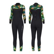 Hevto Wetsuits Women 3mm Neoprene Full Scuba Diving Suits Surfing Swimming Long Sleeve Keep Warm Back Zip for Water Sports