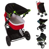 Stroller Sun Cover (0-6m)   Baby SunShade and Blackout Blind for Strollers   Stops 99% of the sun's rays (UPF50+)   Breathable and Universal fit   SnoozeShade Original - Best-Selling Safety Green Trim