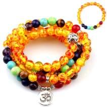 GVUSMIL 7 Chakra 108 Mala Beads Wrap Bracelets for Yoga Charm Natural Gemstone 8mm Turquoise (7 Chakra Plastic Amber)