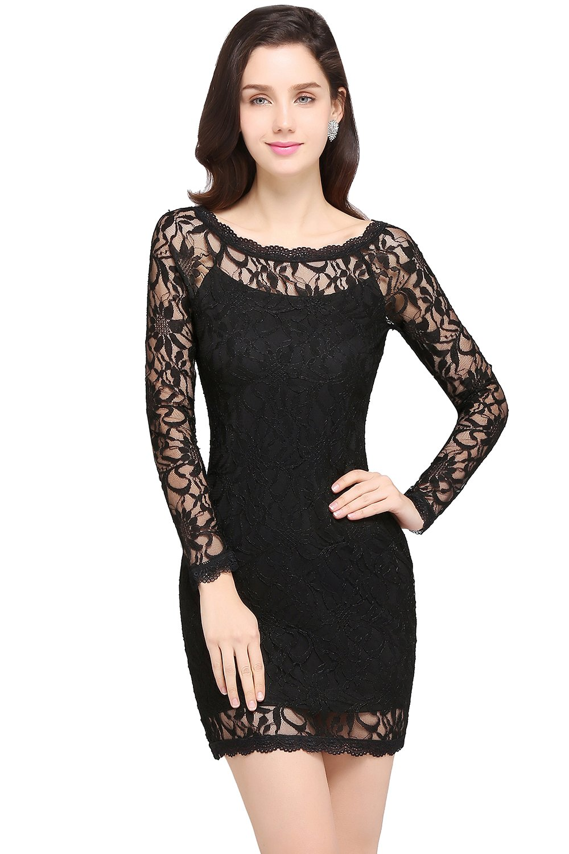 MisShow Women's Little Black Dress Long Sleeve Floral Lace Short Mini Dresses for Cocktail Party,Black,2