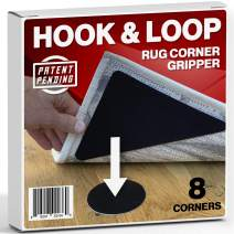 Hook and Loop Large Size Carpet and Rug Gripper - 8 Corner Pack Premium Anti Slip Dog Sliding Proof Triangle Gripper - Easy to Lift, Clean, No Curl, Anti Skid, Renewable Gel for Hardwood Floors, Tile