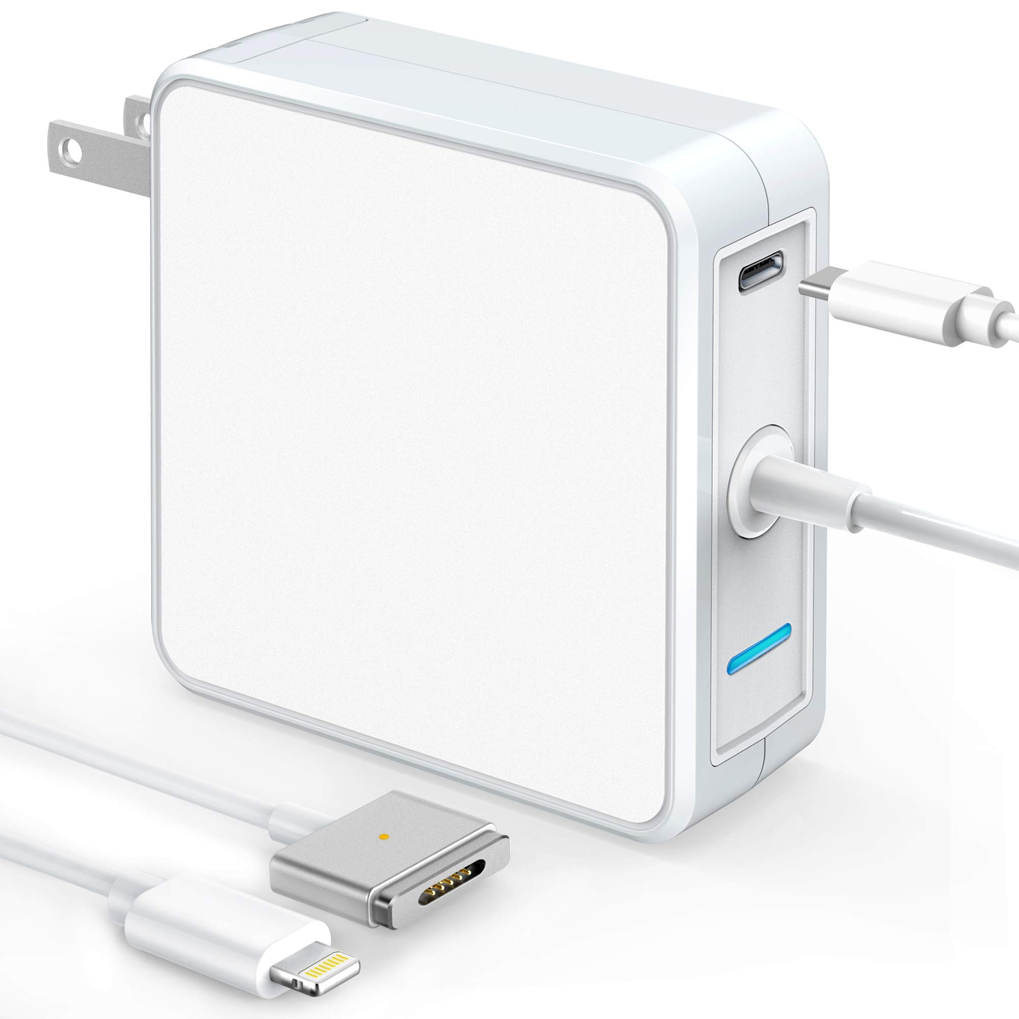 Mac Book Pro Charger, 60W T-Tip Magsafe 2 Power Adapter & 18W USB C Fast Power Delivery Type C Charger for MacBook Charger/Mac Book Air (After Late 2012) and iPad iPhone 11 Pro Max - Total 78W