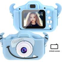 Tocosy Kids Digital Camera HD 12MP Mini Selfie Little Child Camcorder Video Record Photography Toys Birthday Gifts for Girls Boys Toddlers Age 3-15 (Dual Camera, Horn Blue)