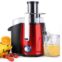 Hilax Power Juicer with LED Light, 700W Centrifugal Juicer Extractor Press Juicer Machine 3 Inch Wide Mouth 2-SPEED, One Button Easy Clean Stainless Steel Juicer Blender for Vegetables and Fruits, Red