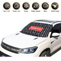 LUCKY SNAIL [2019 Newest]Car Windshield Snow Cover, Summer Windshield Sun Shade for All Weather - Snow Ice Frost Sun Dust Wind and Fallen Leaves, Car Snow Cover with Anti-Theft Hook&Double Side Design