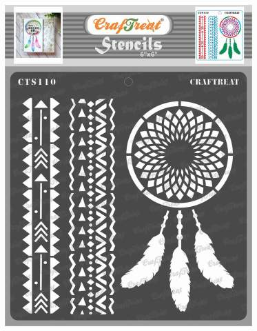 2 x rainbow art deco pattern stencil for wall  greeting card making reusable