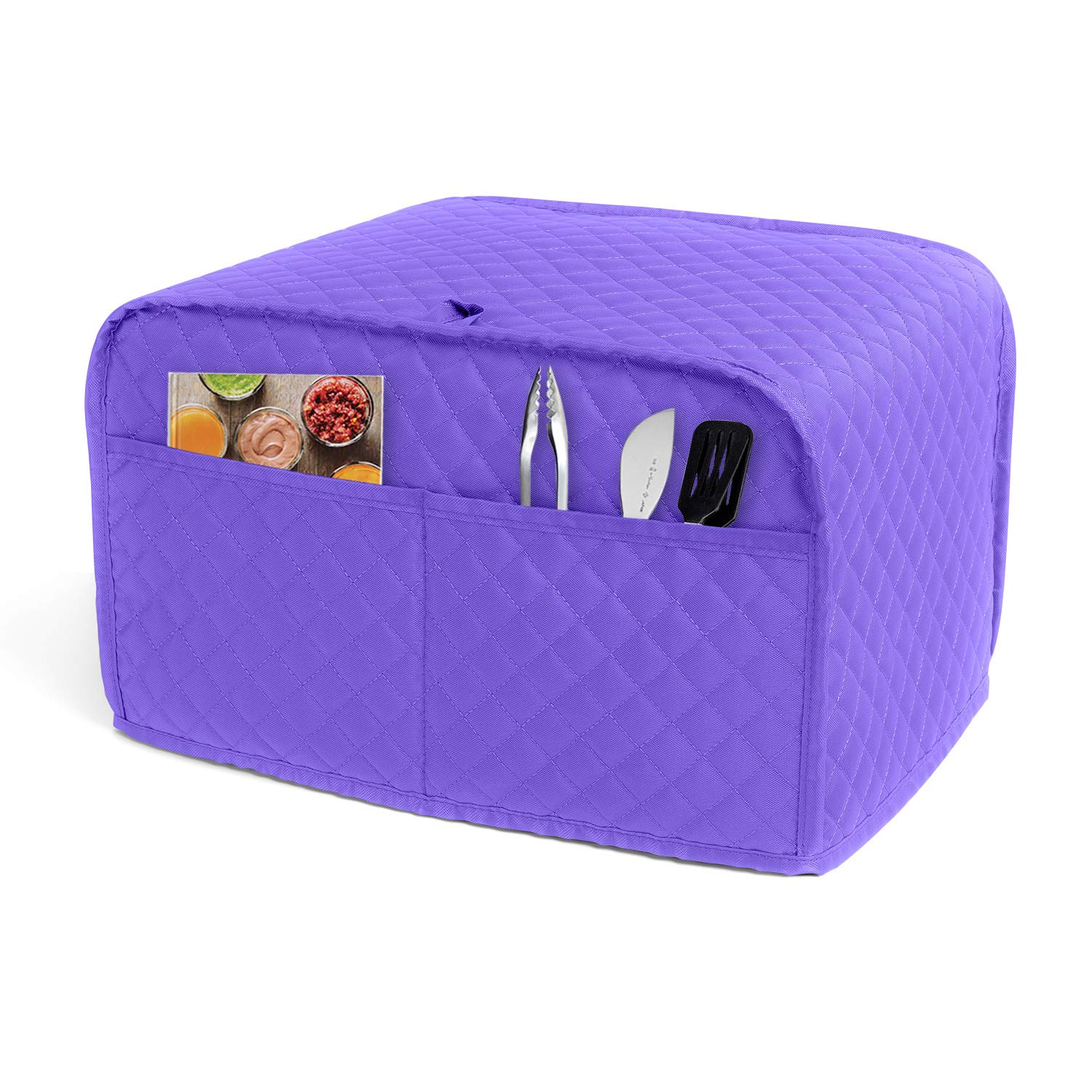LUXJA 4 Slice Toaster Cover (12.5 x 10 x 8 inches), Toaster Cover with 2 Pockets (Fits for Most Major 4 Slice Toasters), Purple (Quilted Fabric)