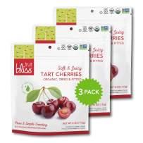 Organic Dried Cherries, Dried Fruit Snacks – Soft & Juicy Pitted Tart Cherry – Organic Fruit Snacks, Natural Dried Fruit Pouches, Non-GMO, Gluten-Free, Vegan Snacks (3 Pack - 4 Oz)