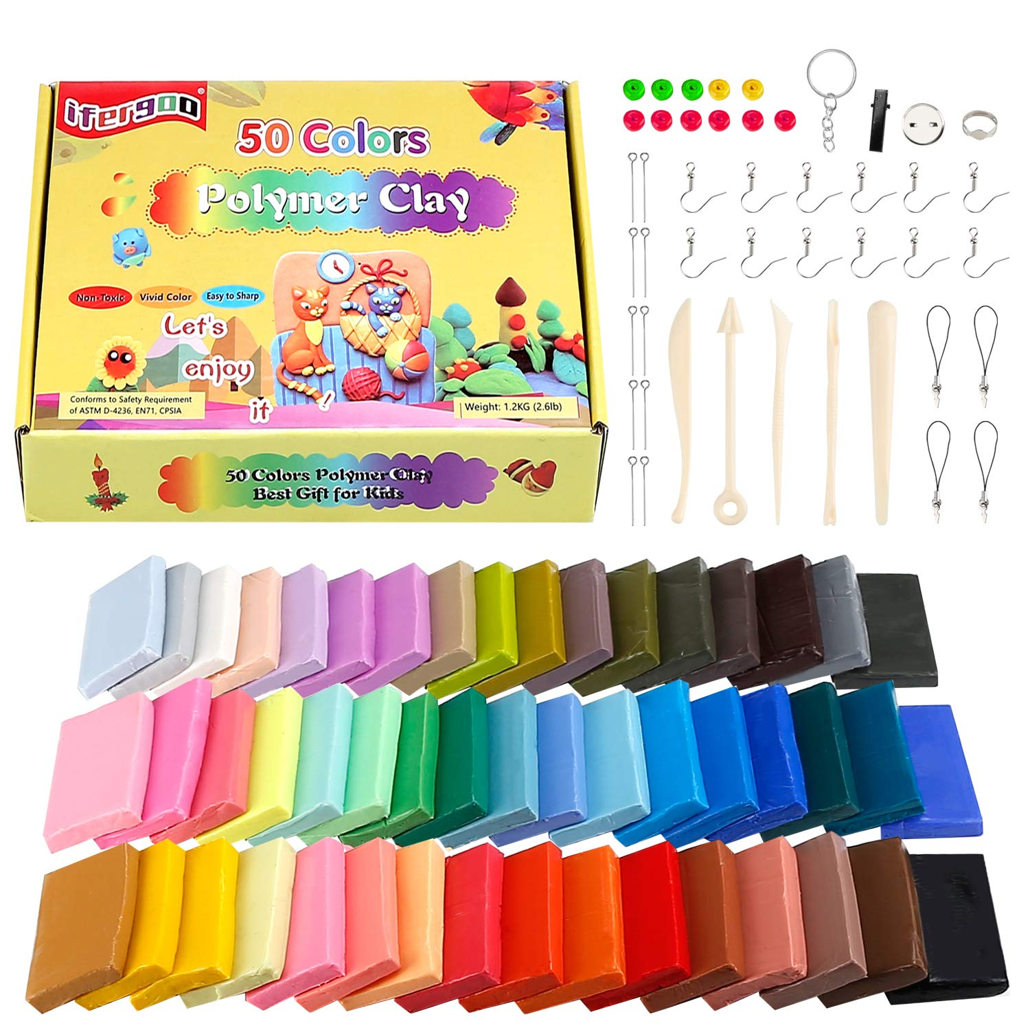ifergoo Polymer Clay, 50 Colors Oven Bake Clay with 8 pcs Modeling Tools, Modelling Clay Soft and Nontoxic DIY Plastic Tools and Accessorie