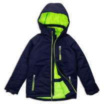 Arctic Quest Boys Windproof Waterproof Insulated Hooded Winter Snow and Ski Jacket with Zippered Pockets