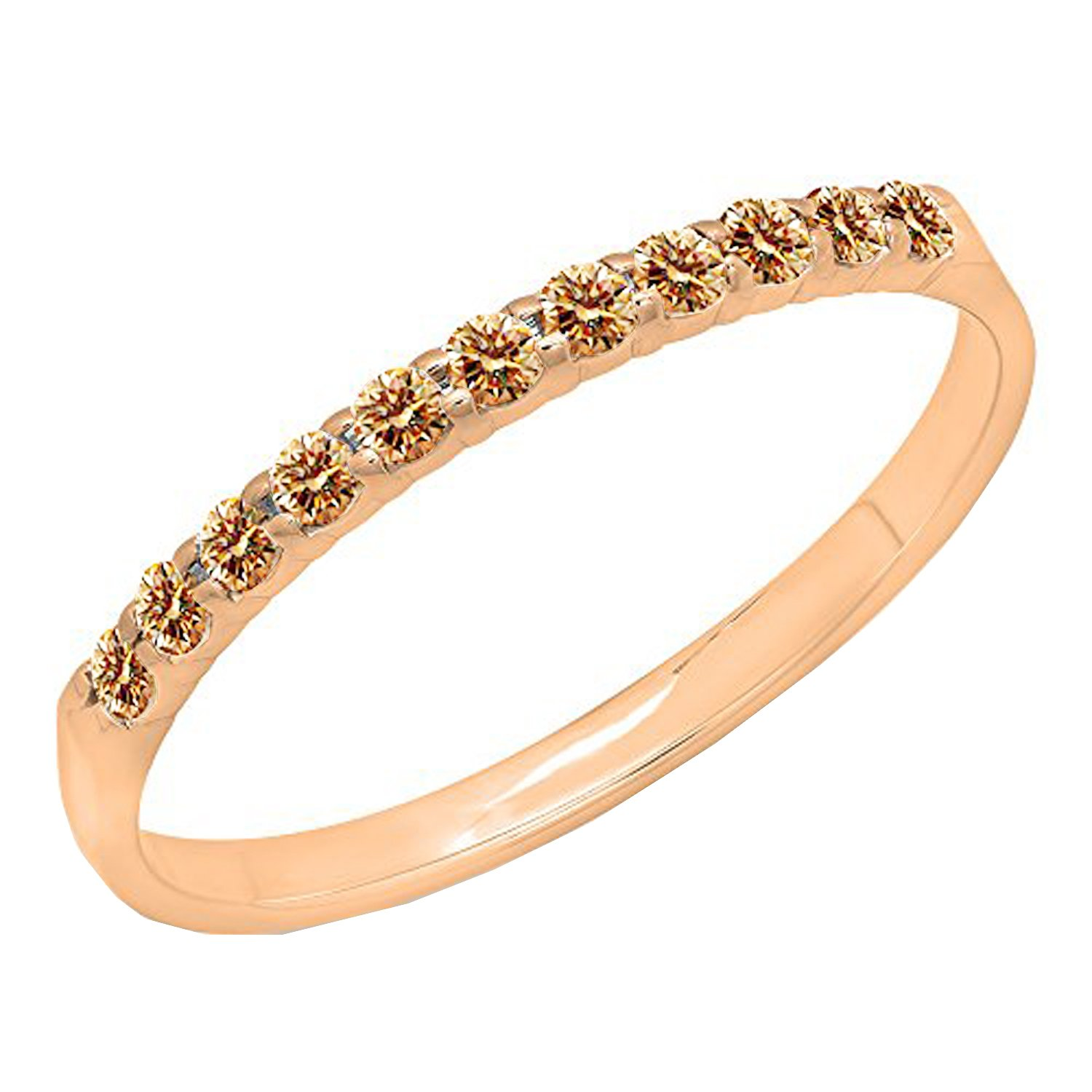 0.20 Carat (ctw) 10k Gold Round Champagne Diamond Ladies Anniversary Wedding Ring Stackable Band 1/5 CT