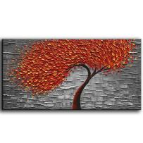 YaSheng Art - Modern Abstract Painting Red Tree 3D Oil Painting Hand Painted On Canvas Abstract Artwork picture Wall Art for living room office Decoration (20x40inch)