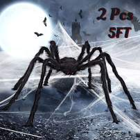 2 Pcs 5 Ft. Halloween Decorations Hairy Spider, 60 Inch Giant Spider, Realistic Scary Hairy Spider Decorations, Halloween Spider Set for Indoor and Outside Decorations