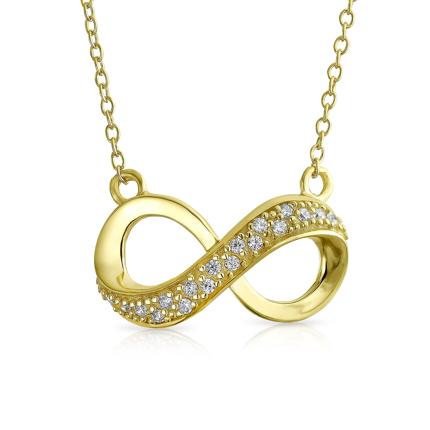 Cubic Zirconia Infinity Forever Love Pendant Necklace For Women Girlfriend 14K Gold Plated 925 Sterling Silver