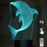 Night Lights for Kids Dolphin 3D Night Light Bedside Lamp Dolphin Toy Light 7 Colors Changing with Remote Control Best Christmas Gifts and Birthday Gifts for Boys Girls Kids Baby Children
