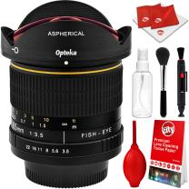 Opteka 6.5mm f/3.5 HD Aspherical Wide Angle Fisheye Lens with Optical Cleaning Kit for Canon EOS 80D, 77D, 70D, 60D, 60Da, 50D, 7D, T7i, T7s, T7, T6s, T6i, T6, T5i, T5, SL2 and SL1 Digital SLR Cameras