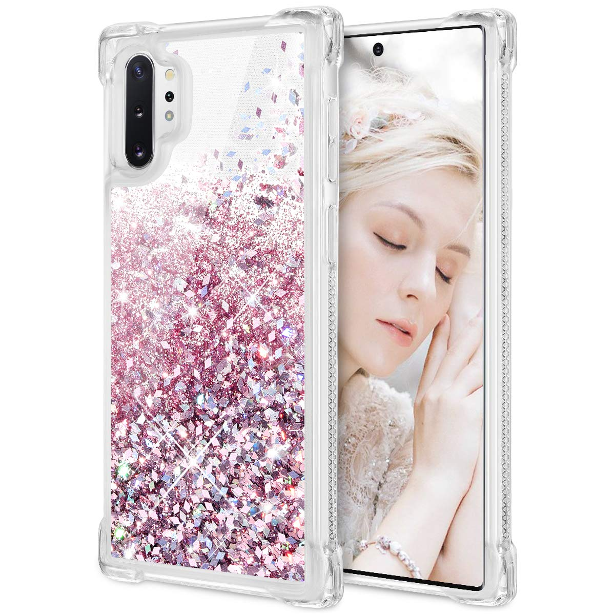Maxdara Case for Galaxy Note 10 Plus Case Glitter Liquid Girls Women Case with Floating Quicksand Bling Shiny Sparkle Luxury Fashion Soft TPU Bumper Protective Case for Galaxy Note 10 Plus (Rosegold)