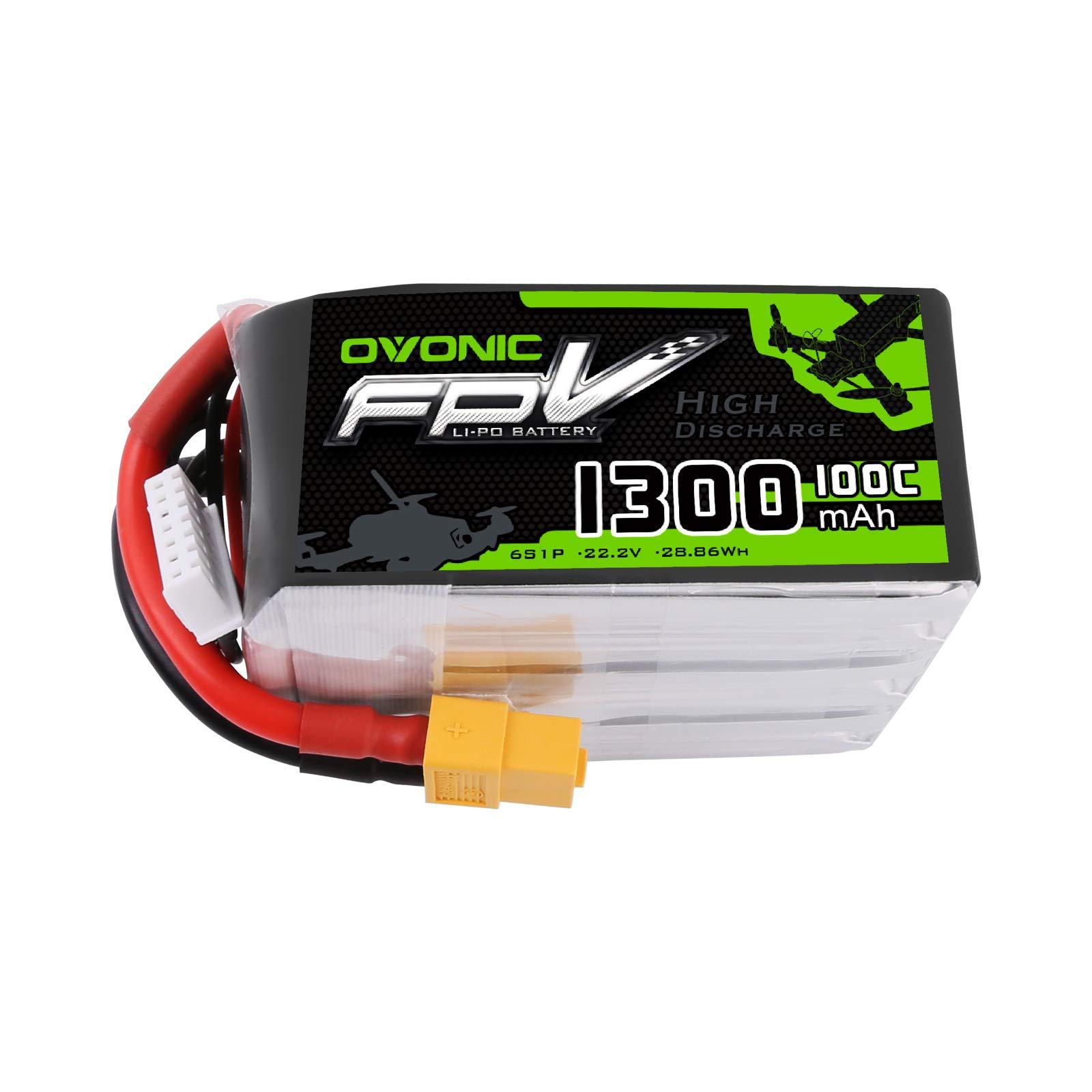 Ovonic 1300mAh 22.2V 6S 100C Lipo Battery with XT60 Plug for FPV Racing