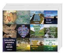 NewEights Love and Grace of God Stickers (5 Sheet) - Total 60 pcs (5 x 12pcs) Individual Small Size 2.1 x 2 Inches, Waterproof, Unique Designs, Great Variety Biblical Inspired Stickers