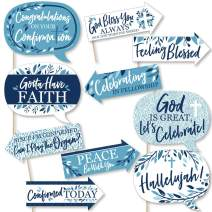 Funny Confirmation Blue Elegant Cross - Boy Religious Party Photo Booth Props Kit - 10 Piece