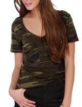 HAOYIHUI Women's Casual V-Neck Camouflage Crewneck Short Sleeve Shirt