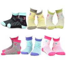 TeeHee (Naartjie) Kids Girls Cotton Fashion Fun Crew Socks 6 Pair Pack (9-10 Years, Butterfly)