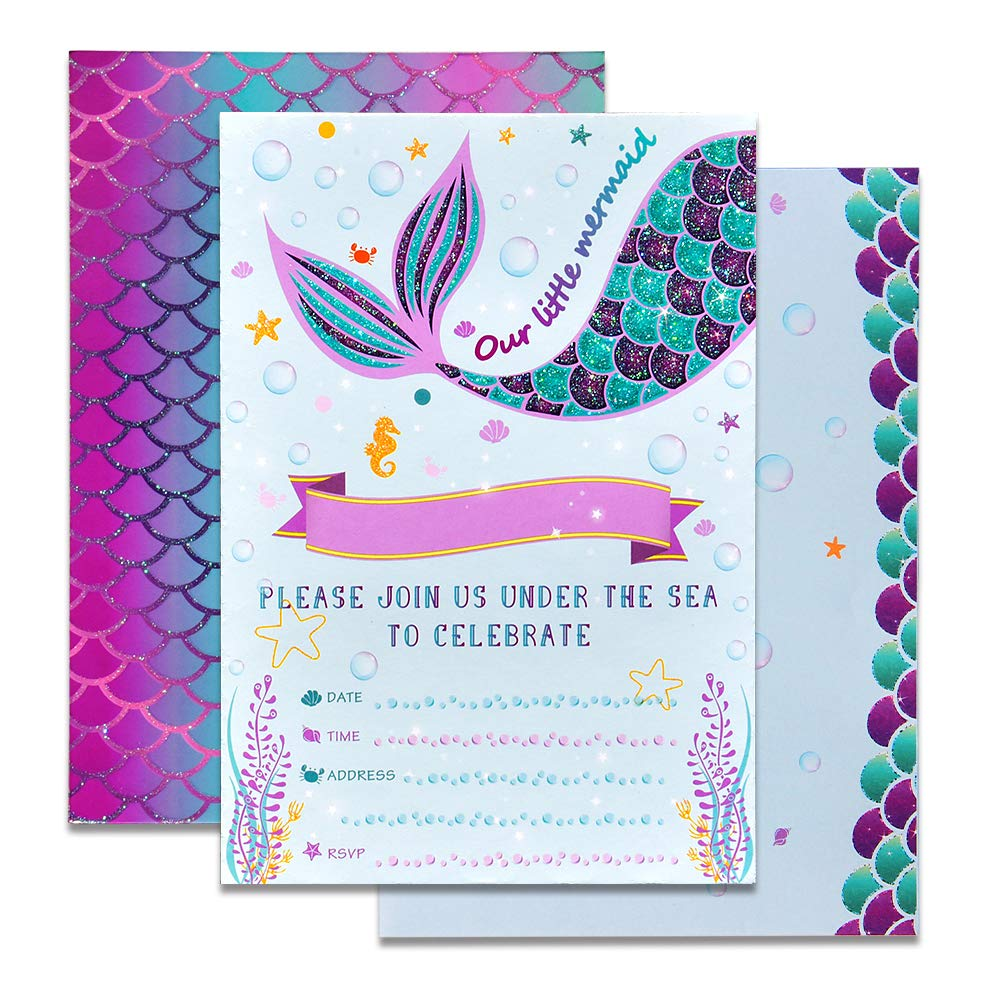WERNNSAI Mermaid Party Invitations - 20 Set Magical Glitter Fill in Mermaid Invitations with Envelopes for Kids Girls Birthday Baby Shower Wedding Pool Mermaid Themed Party Supplies