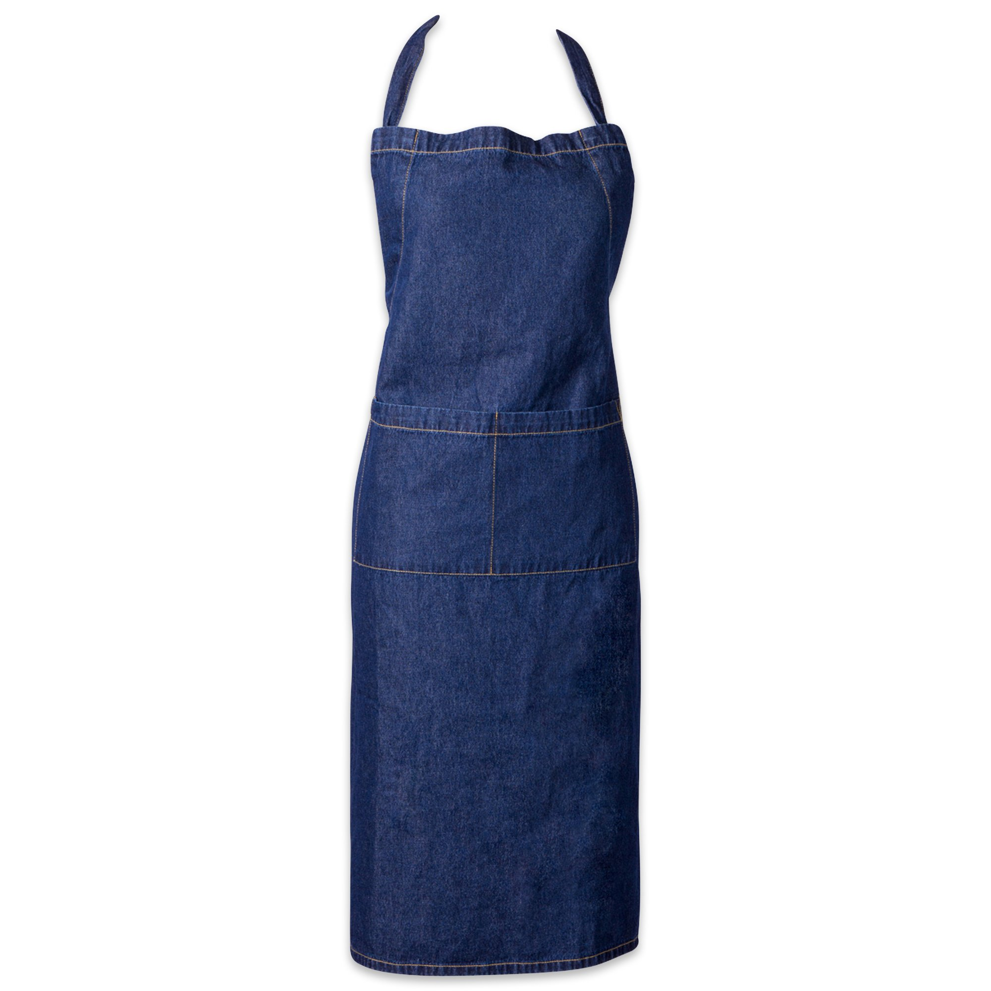 DII 100% Cotton, Professional Bib Chef Apron, Adjustable Neck & Waist Ties, Front Pocket, Machine Washable, Perfect for Cooking, Baking, Barbequing, More – Denim
