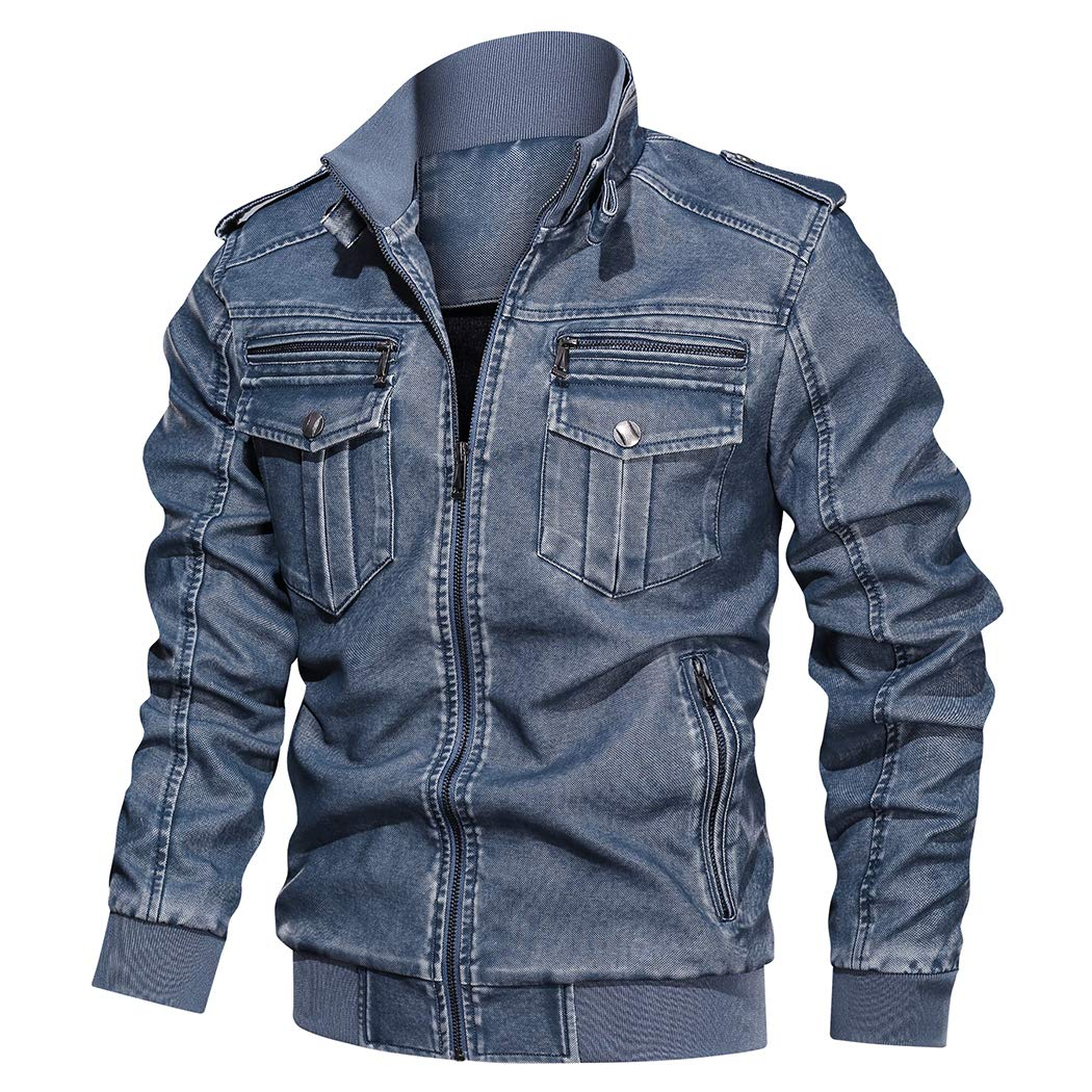 Modern Fantasy Men's Distressed Vintage Biker Jacket Fleece Warm PU Faux Leather Stand Collar Outerwear